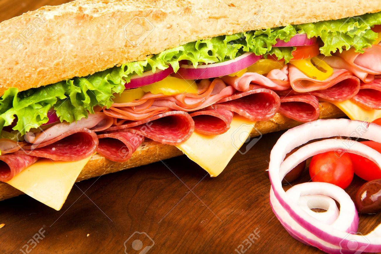 Footlong Salami, Ham, cheese sub with lettuce, tomato, onion and peppers Stock Photo - 5886613