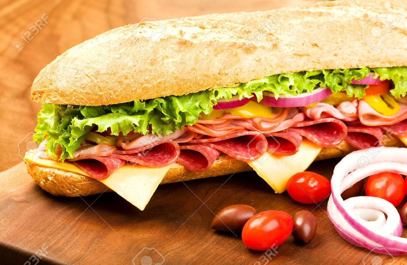 Footlong Salami, Ham, cheese sub with lettuce, tomato, onion and peppers Stock Photo - 5915458