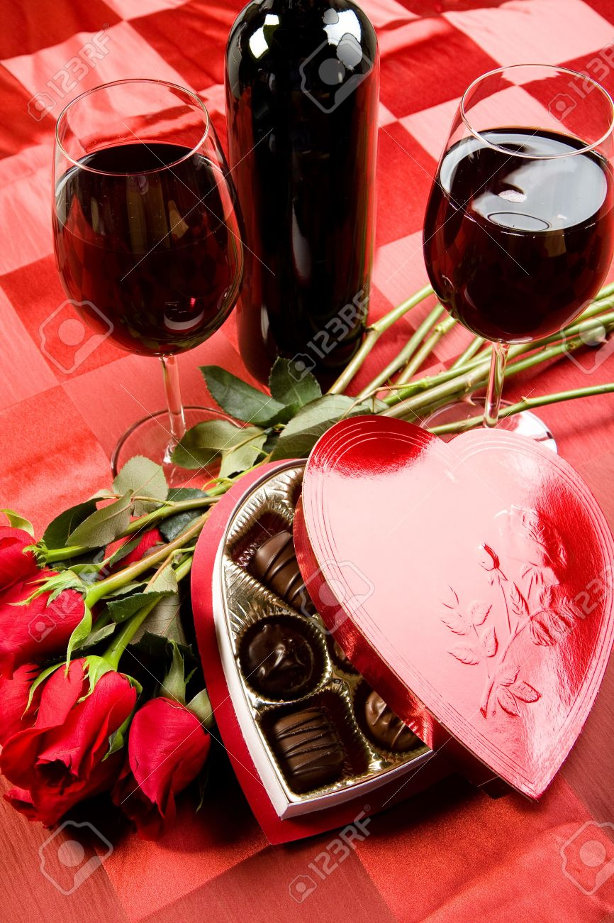 Valentine S Day Roses Candies And Wine On Black Tray Stock Photo