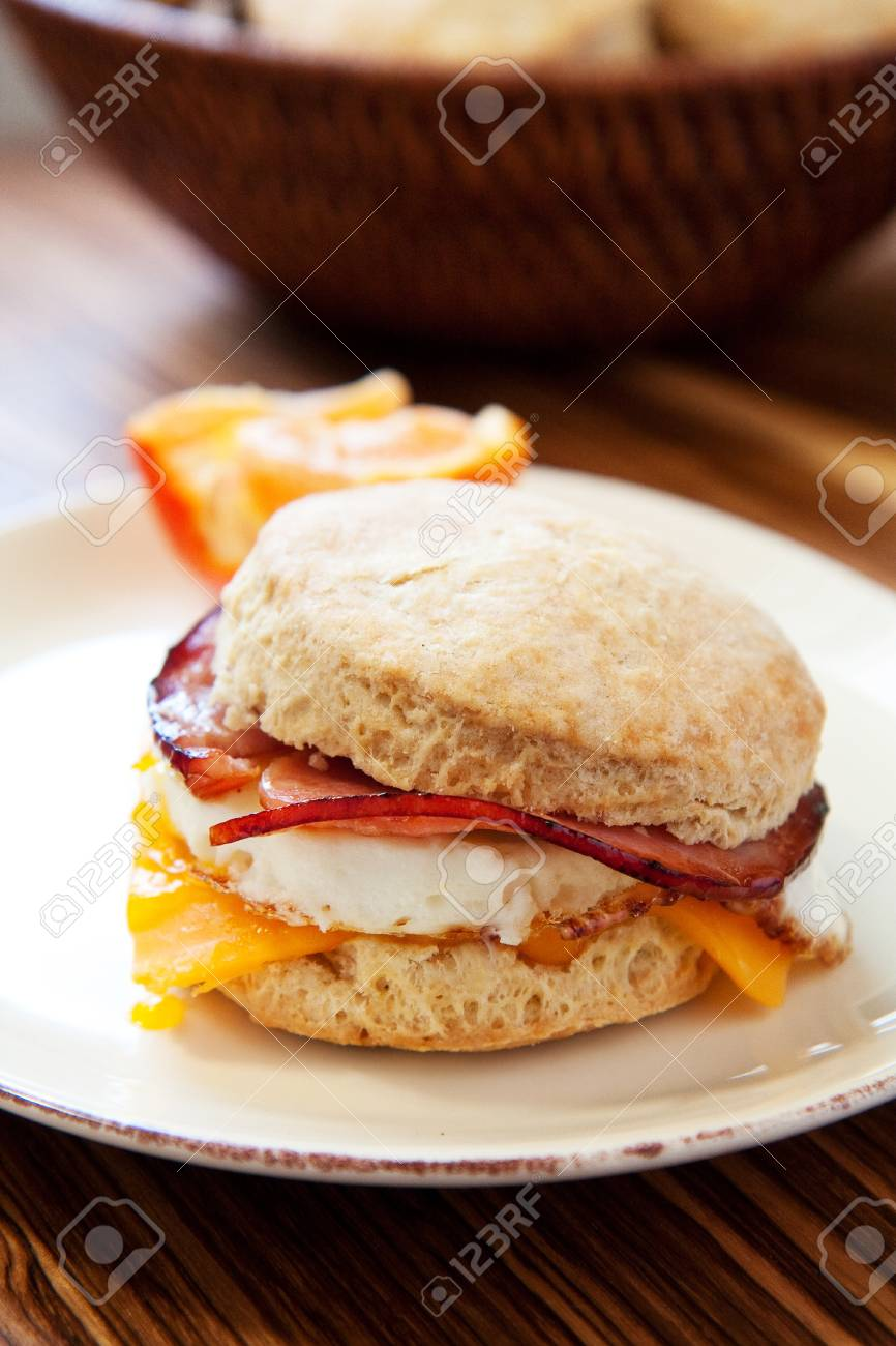 Ham, egg and cheese on a light fluffy biscuit Stock Photo - 8584887