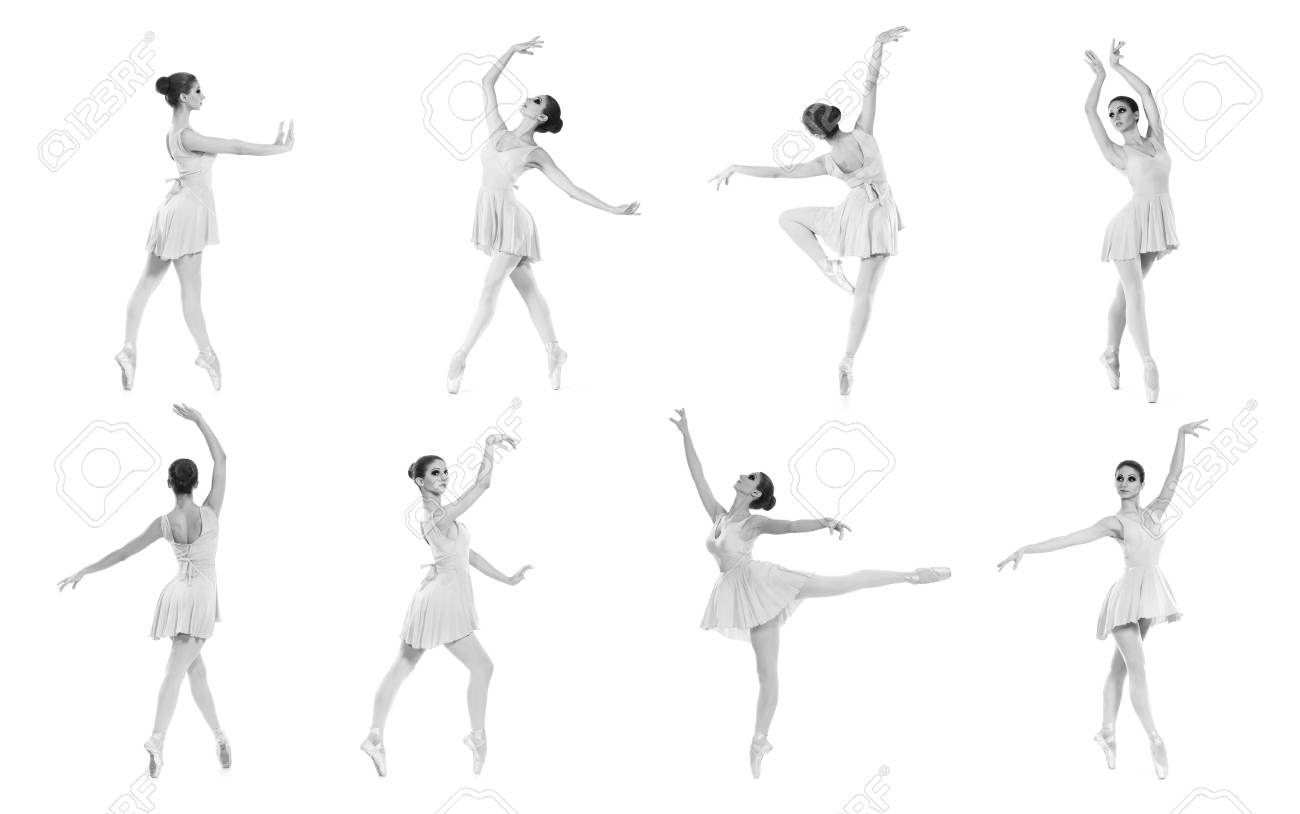 Collection Of Different Ballet Poses Black And White Silhouettes Stock Photo Picture And Royalty Free Image Image 38577182