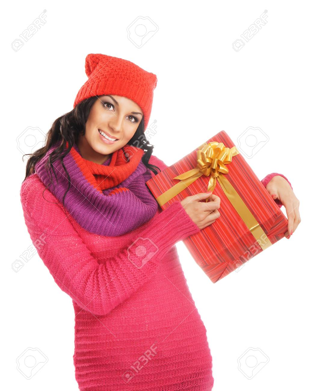 Junge Und Schöne Frau, Die Ein Schönes Weihnachtsgeschenk über ...