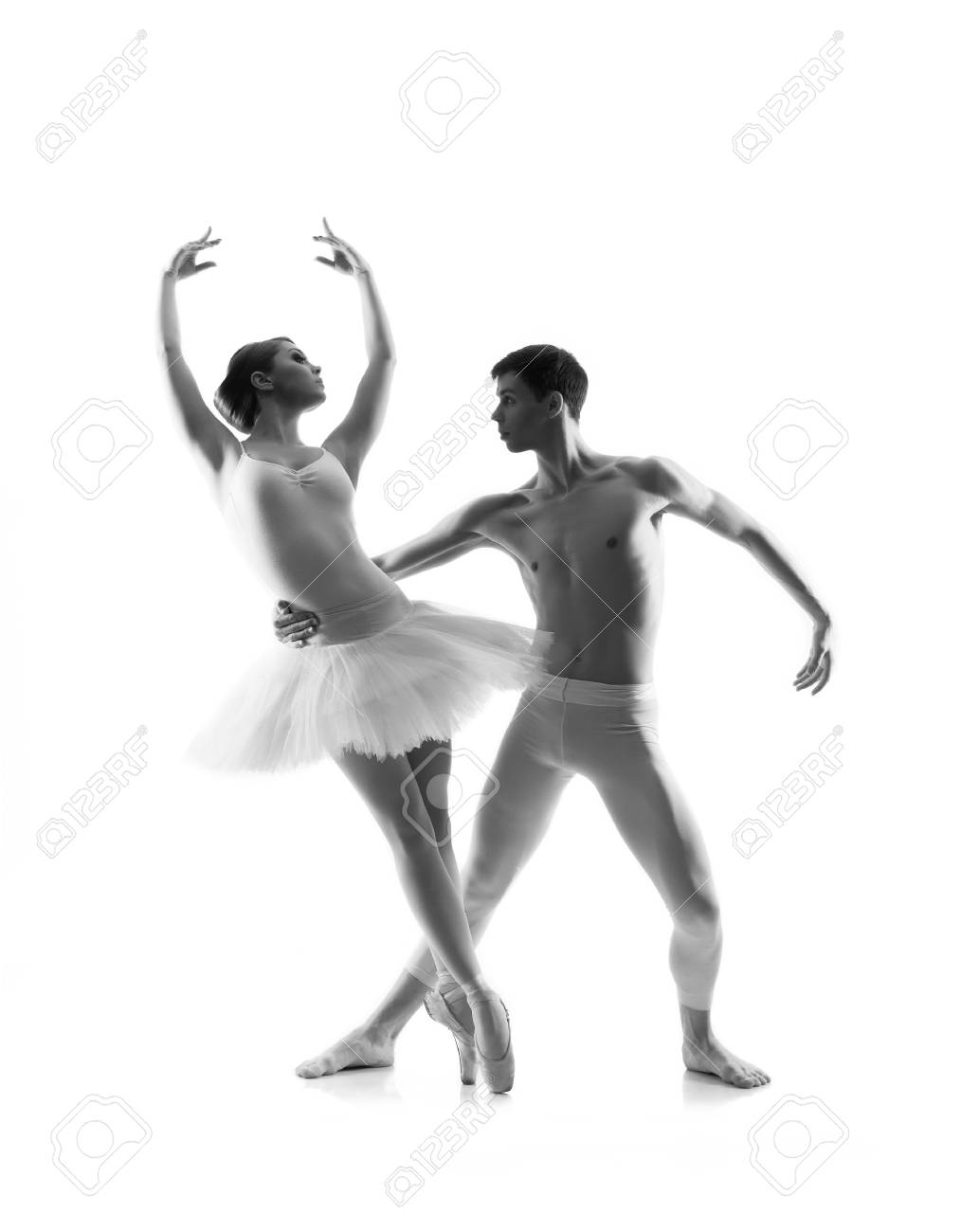 Couple Of Ballet Dancers Isolated On White Black And White Stock Photo Picture And Royalty Free Image Image 72553332