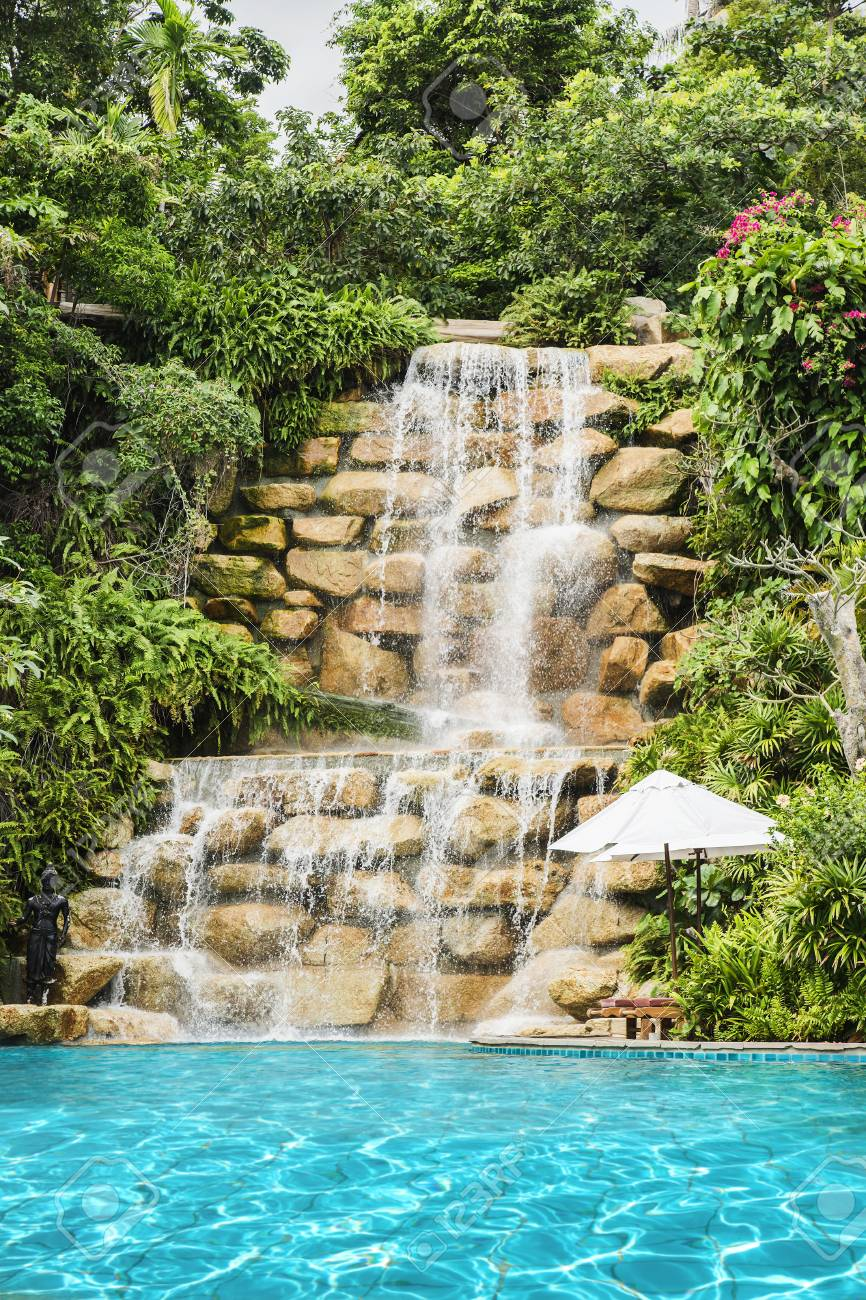 Luxury Swimming Pool Nearby Tropical Forest And Waterfall Stock Photo Picture And Royalty Free Image Image 72677552