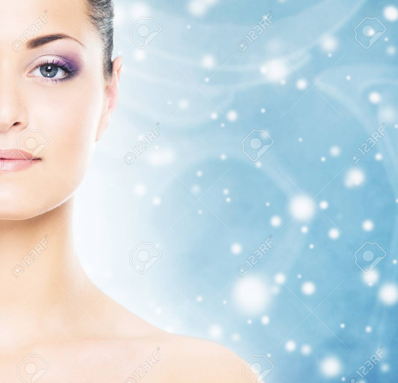 Christmas Background Portrait.Spa Portrait Of Young And Beautiful Woman Over Christmas Background