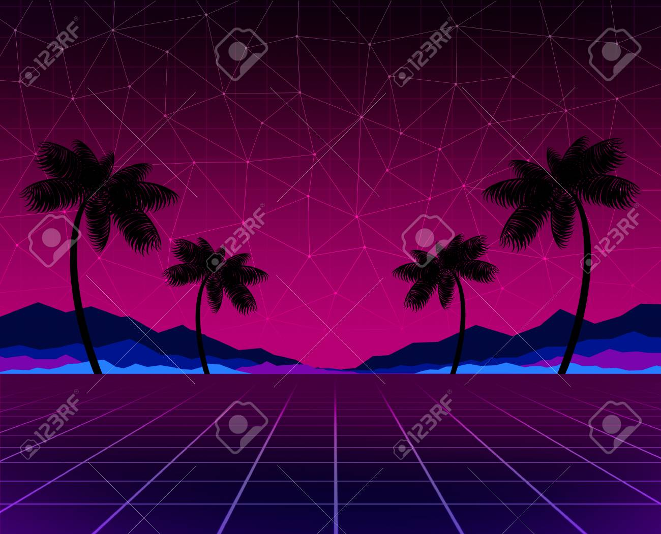 Glowing neon, synthwave and retrowave background template  Retro