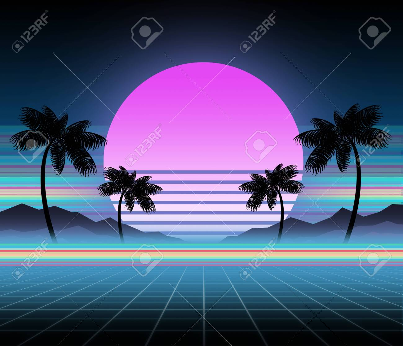 Synthwave and retrowave background template  Palms, sun and space