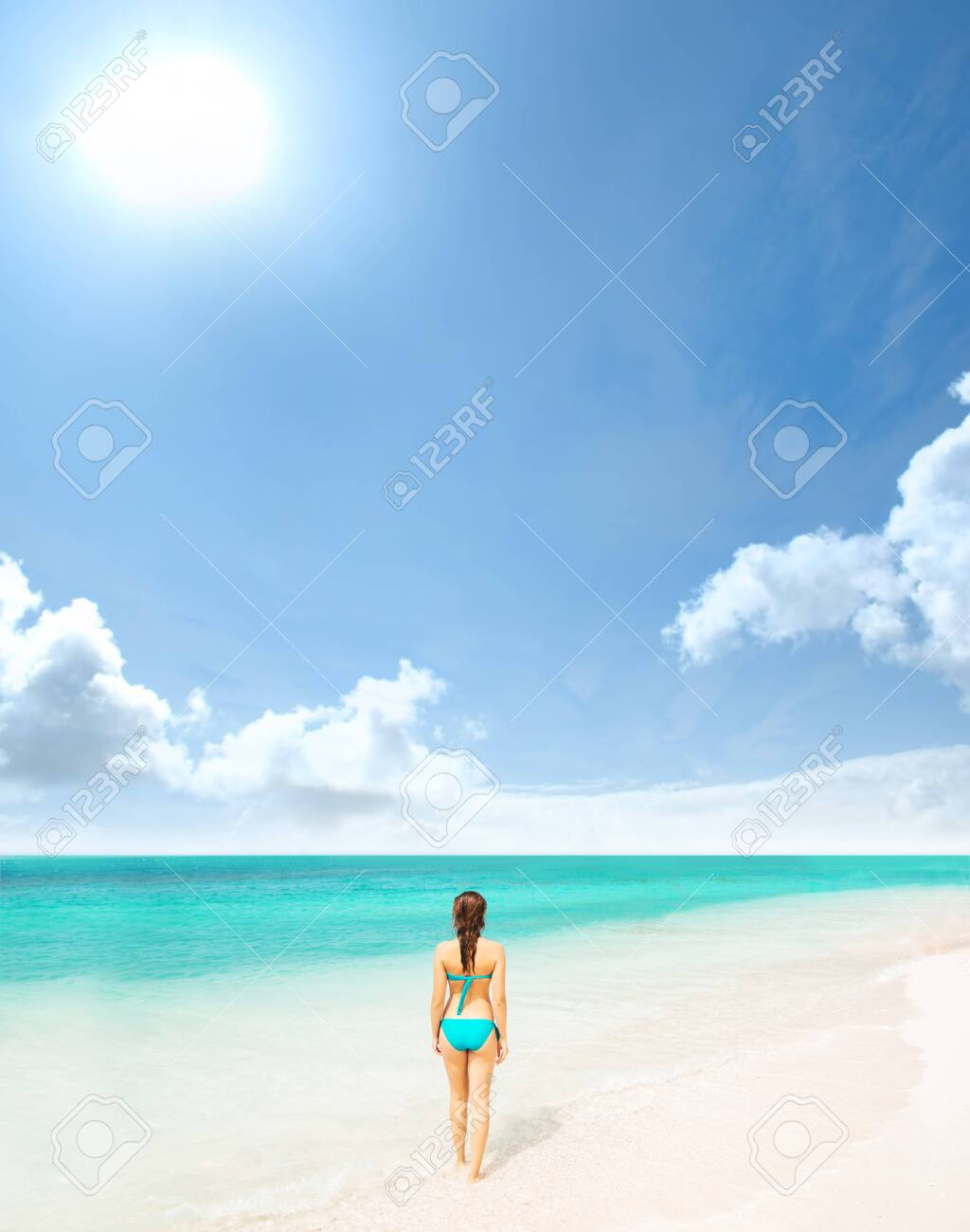 Young and beautiful woman in swimsuit relaxing on the beach. Girl having summer vacation in Thailand. Holidays and traveling. - 136459053