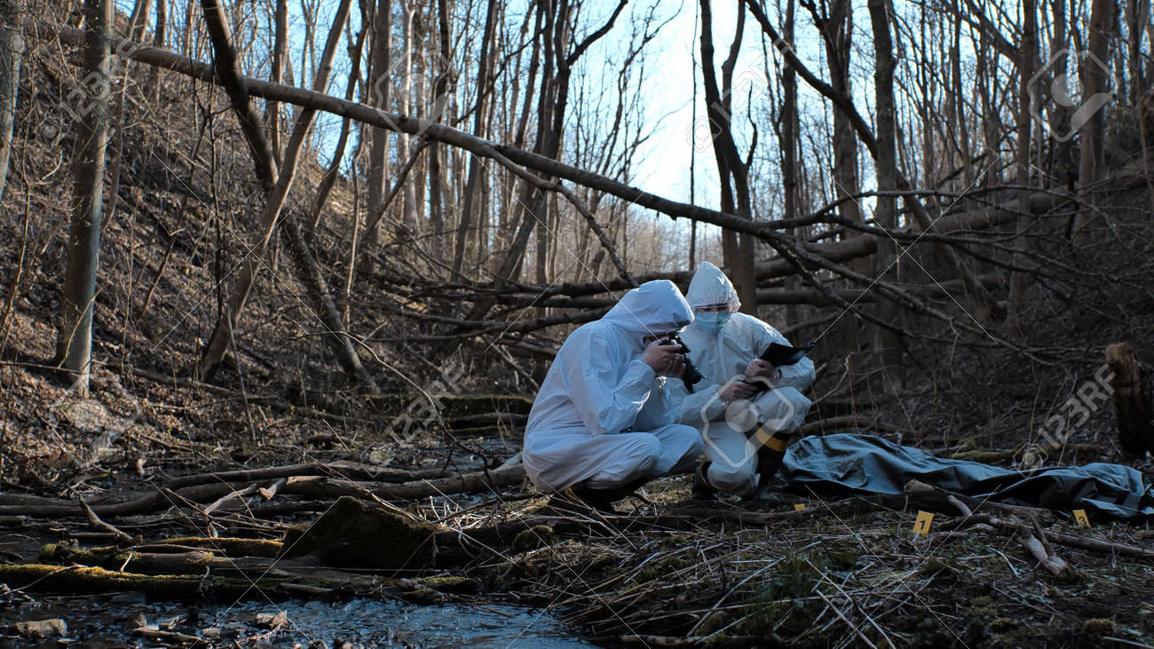 Detectives are collecting evidence in a crime scene. Forensic specialists are making expertise. Police investigation in a forest. - 159783993