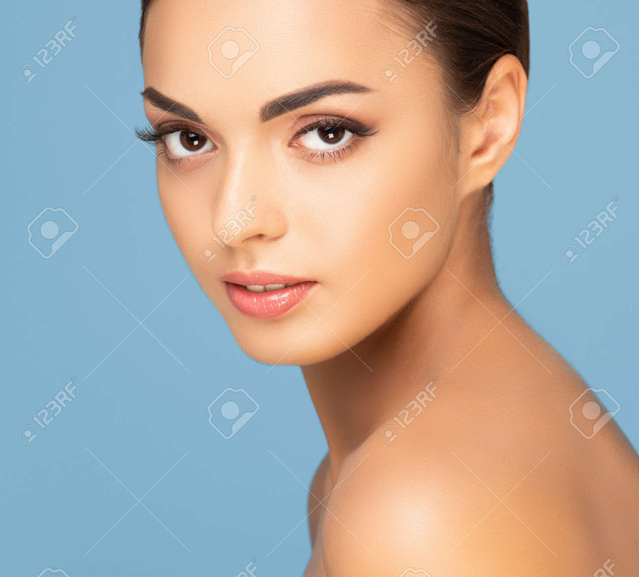 Beautiful face of young and healthy woman. Spa, cosmetology and healthcare. - 167106047