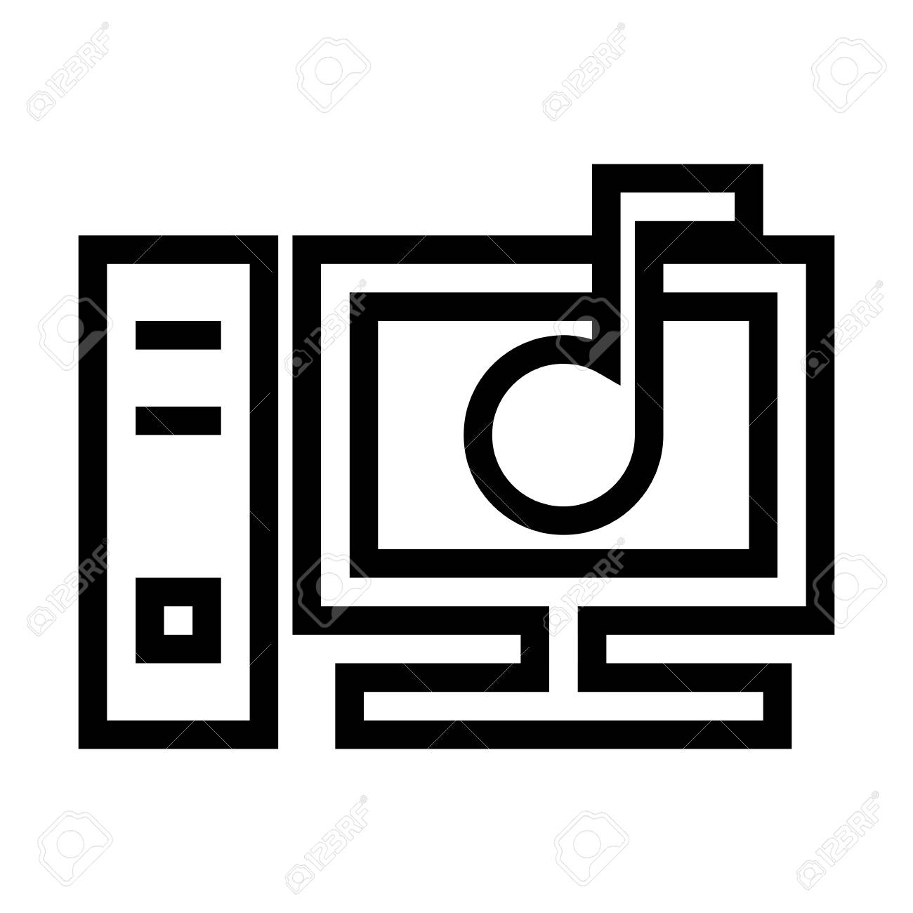 Personal Computer Sound Settings Icon Vector