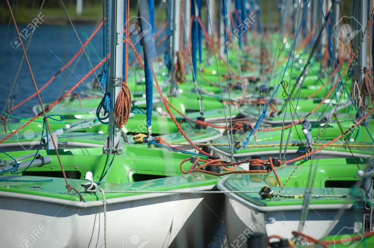 Group of sailboats moored in port, Masuria, Poland Stock Photo - 12835594