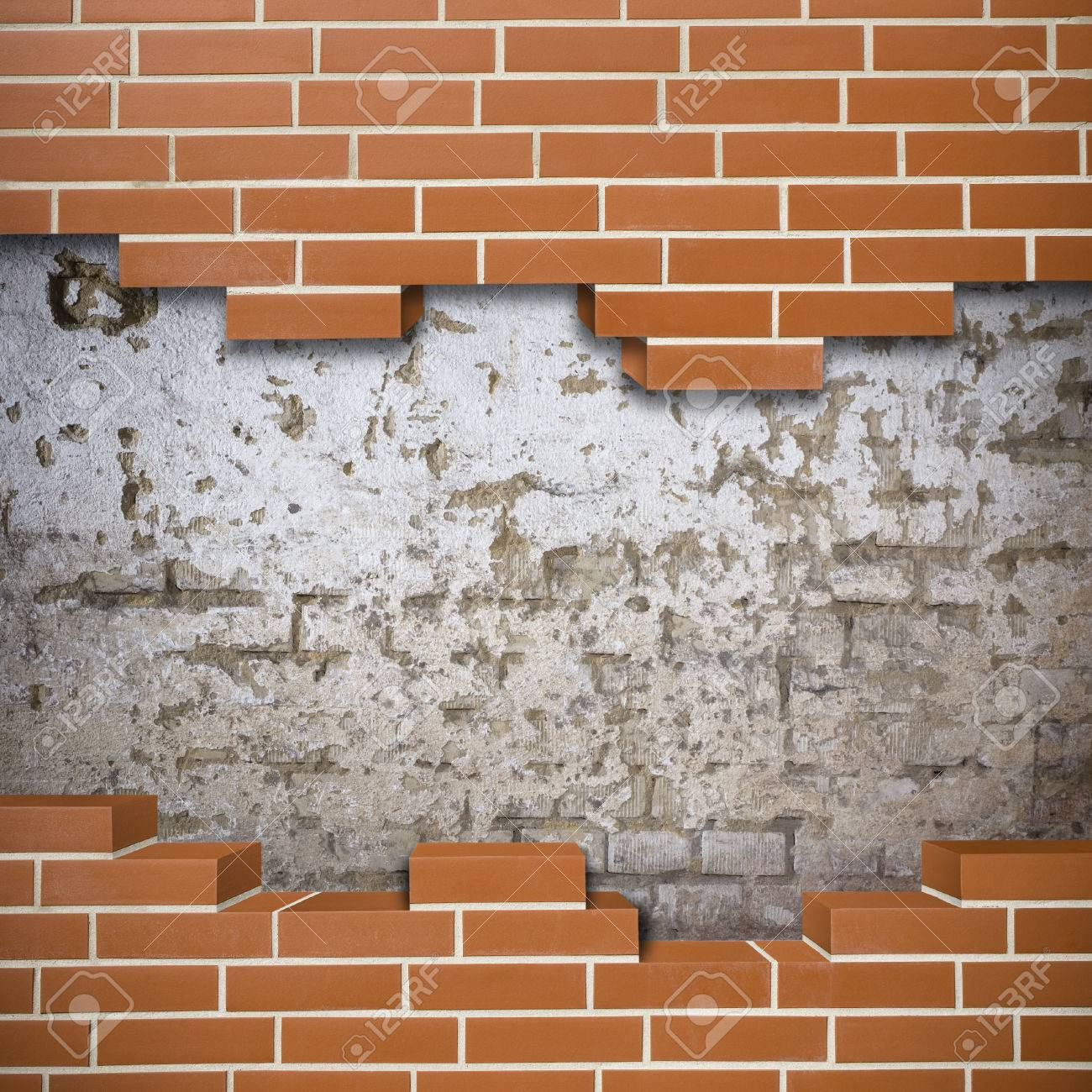 Broken red brickwall with grunge wall in the background Stock Photo - 24155538