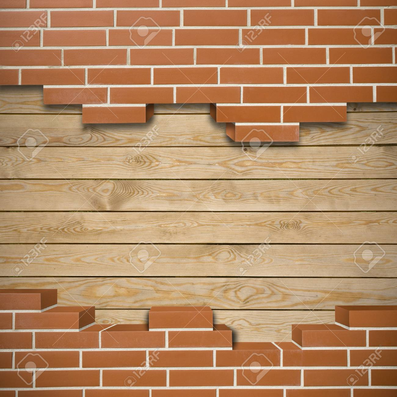 Broken red brickwall with wood boards in the background Stock Photo - 24205612