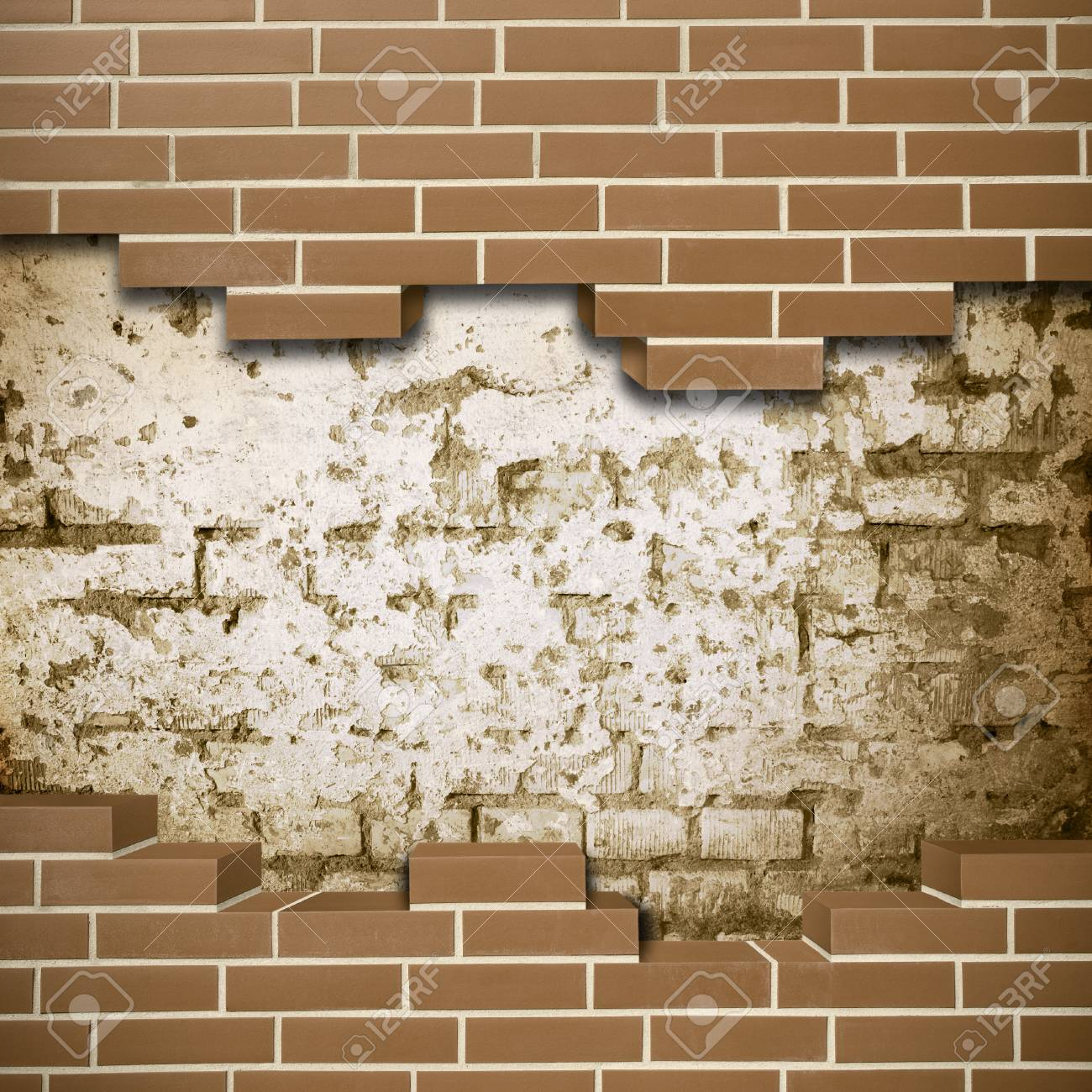 Vintage red brickwall with grunge wall in the background Stock Photo - 24205614