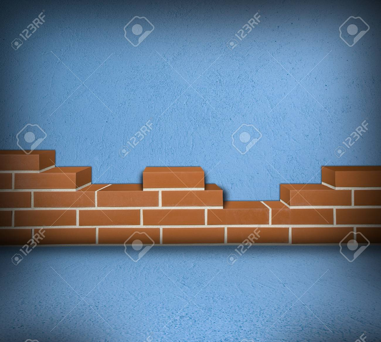 Room with partially built red brick wall and blue concrete Stock Photo - 24461773