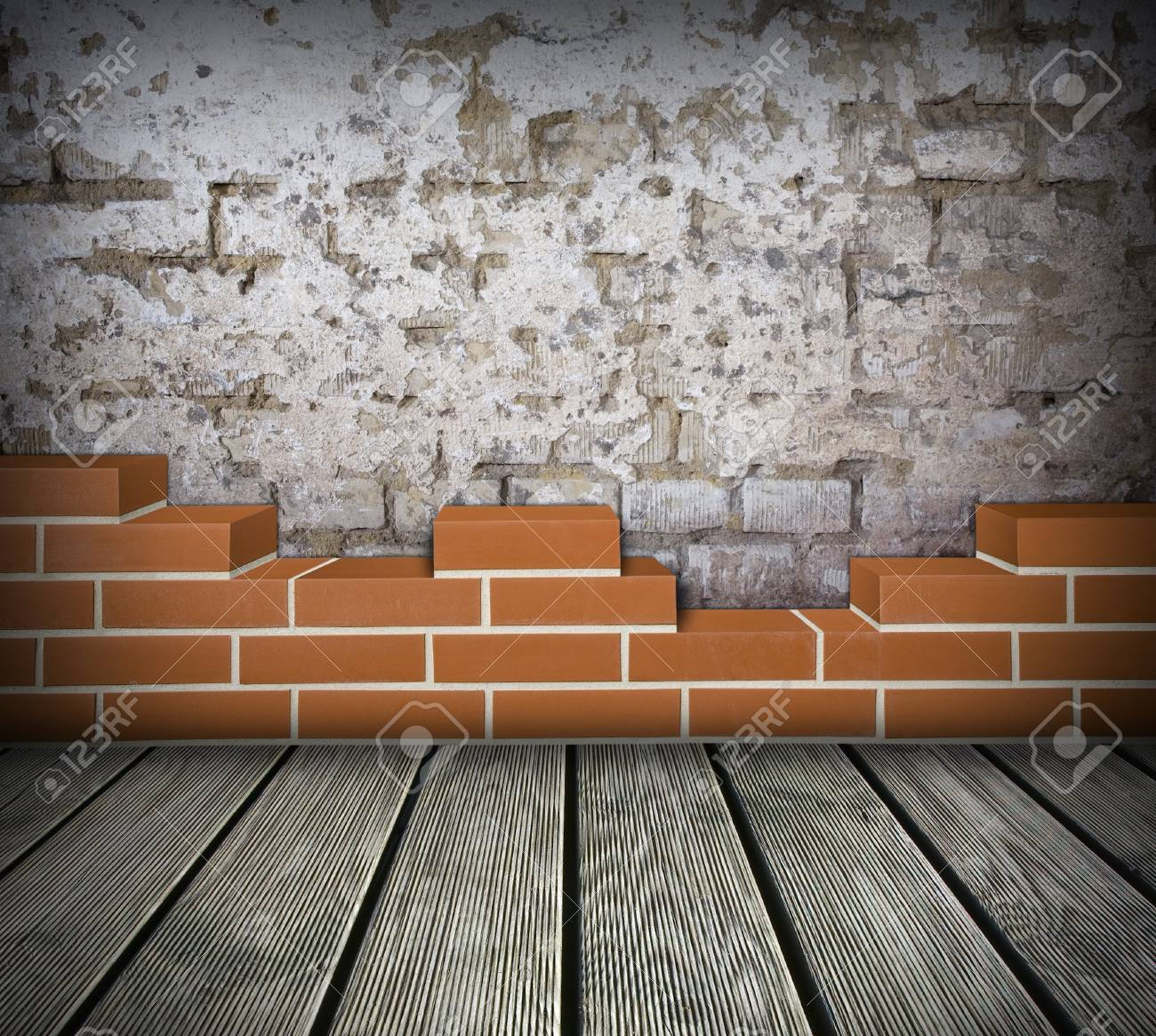 Room with partially built red brick wall and damaged white wall Stock Photo - 24461787