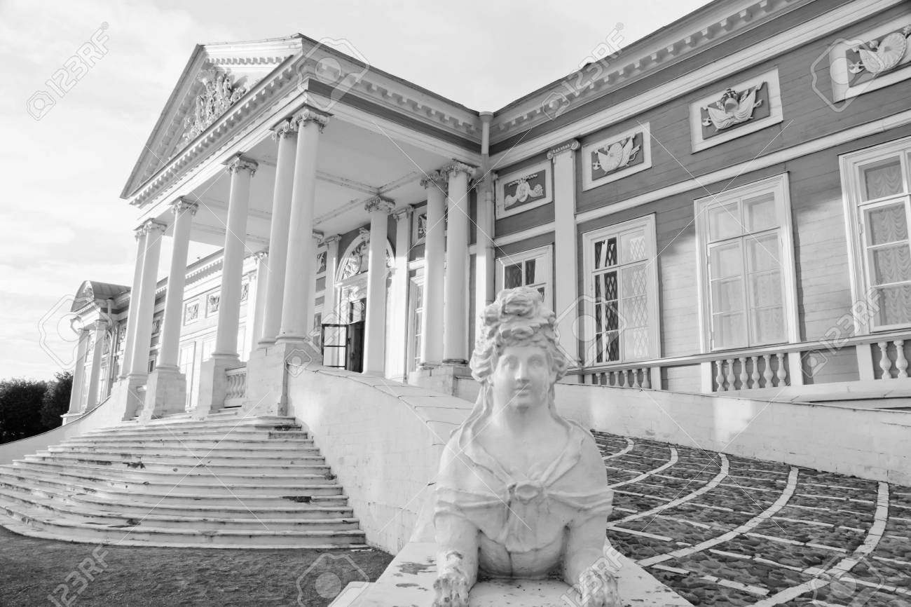Entrée Noir Et Blanc statue près de l'entrée d'un ancien palais noir et blanc