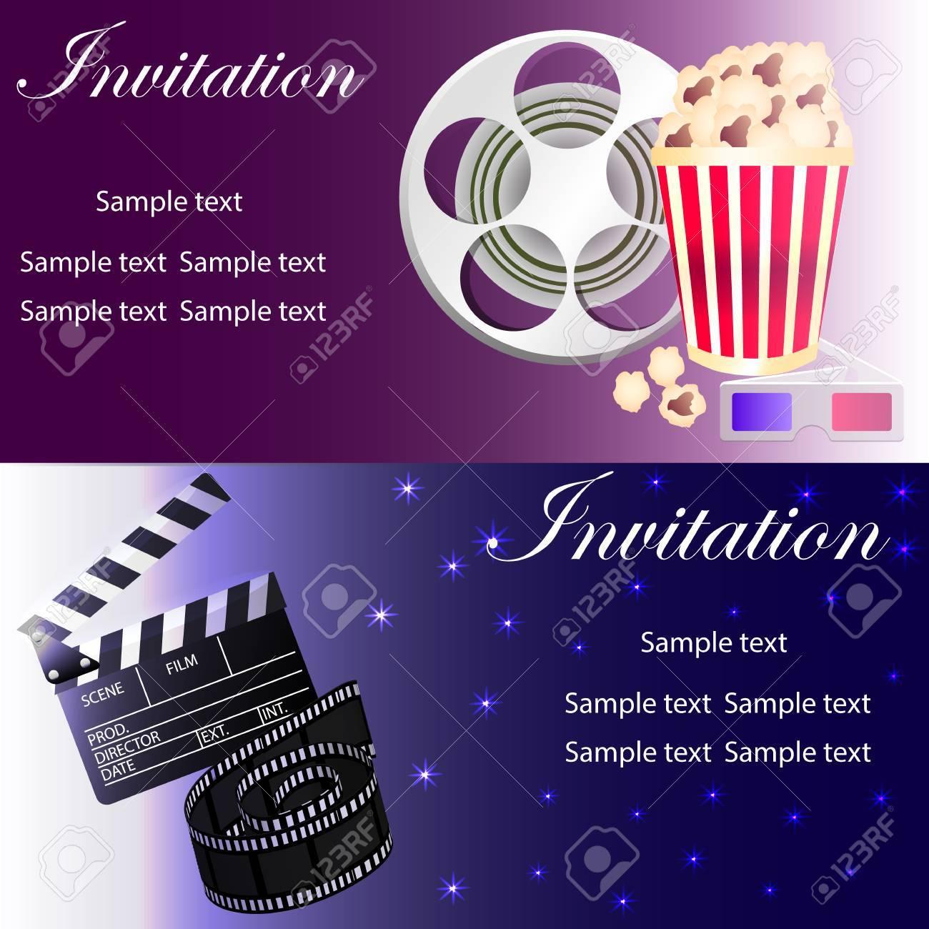 Film-Konzept-Vorlage Mit Popcorn-Schüssel, Filmstreifen, Film ...