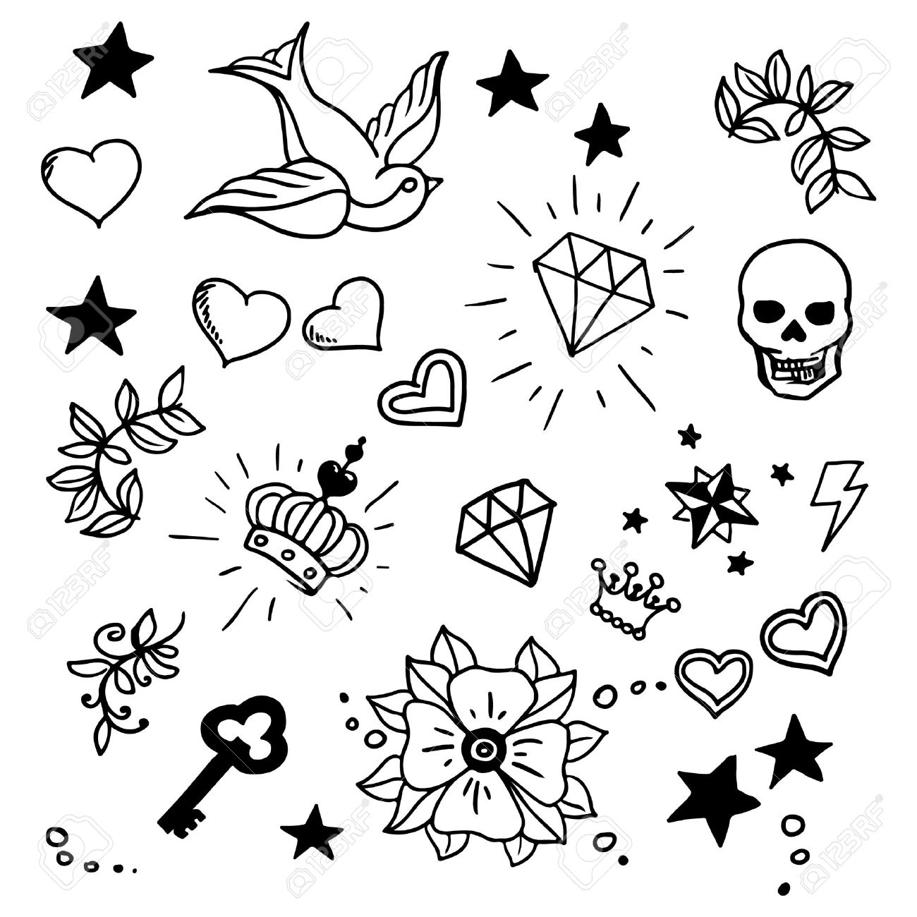 54e0125bf6968 Set Of Old School Tattos Elements, Vector Royalty Free Cliparts ...