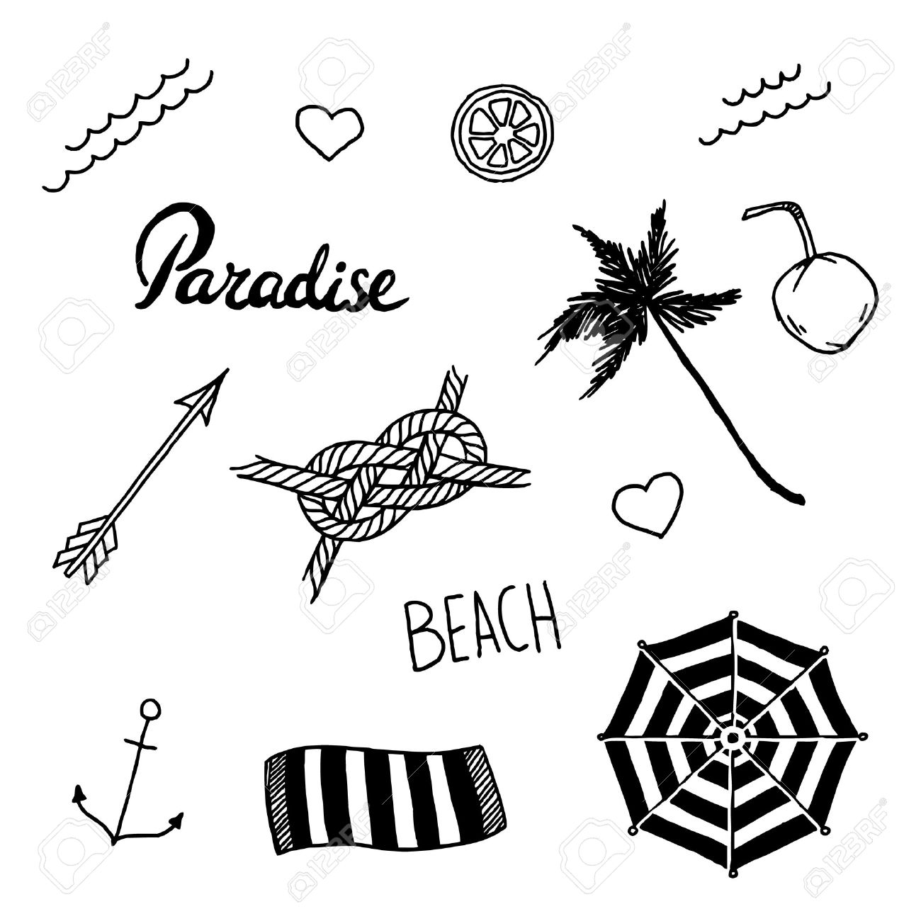 Playa Del Verano Fijó En Estilo Tatuaje De La Escuela Vieja Vector