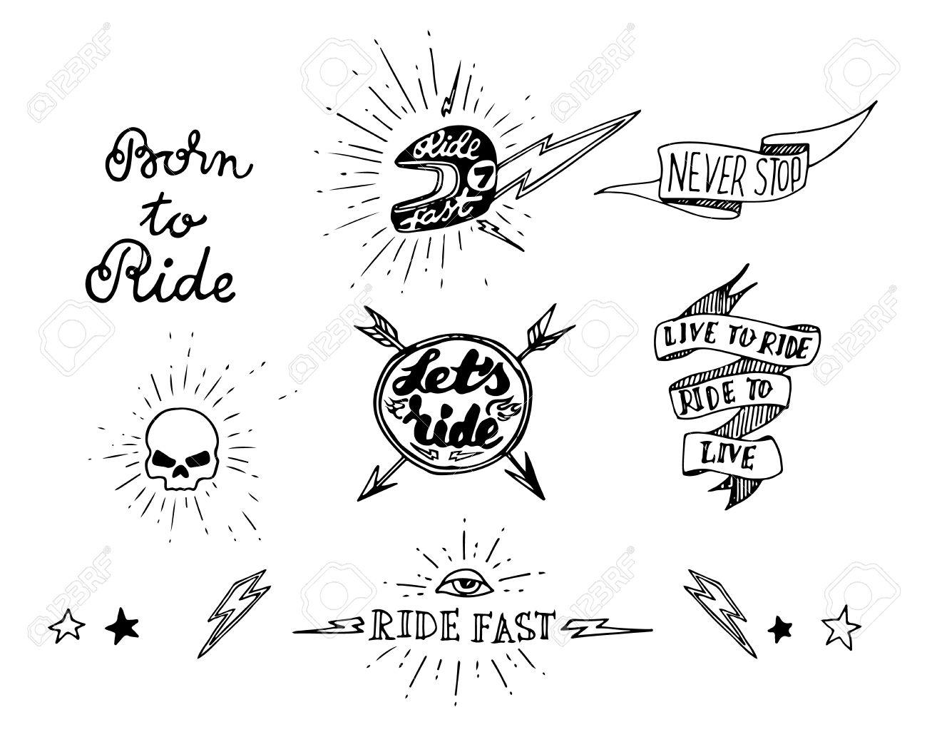 Traditional Tattoo Biker Set Of Design Elements Stock Vector