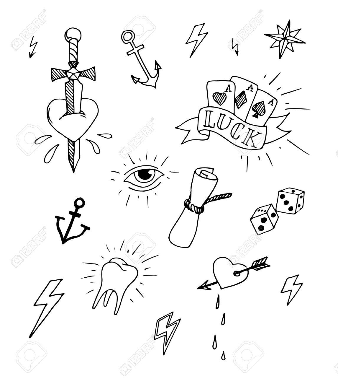 Vintage Set Of Hand Drawn Nautical Tattoo Design Elements Vector