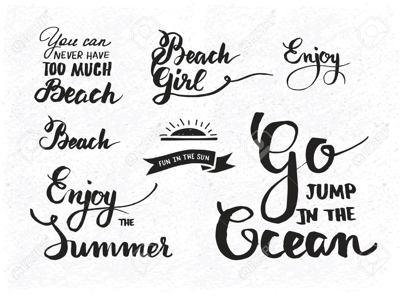 Set Of Summer Motivational Quotes About Beach Fun And Relaxation