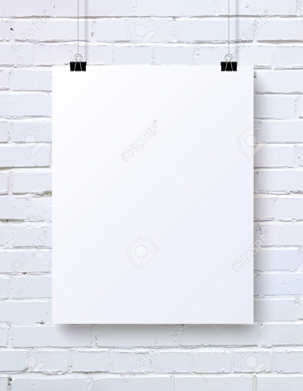 写真素材 , 白いレンガの壁、ベクトル図の白い空白縦ポスター モックアップ
