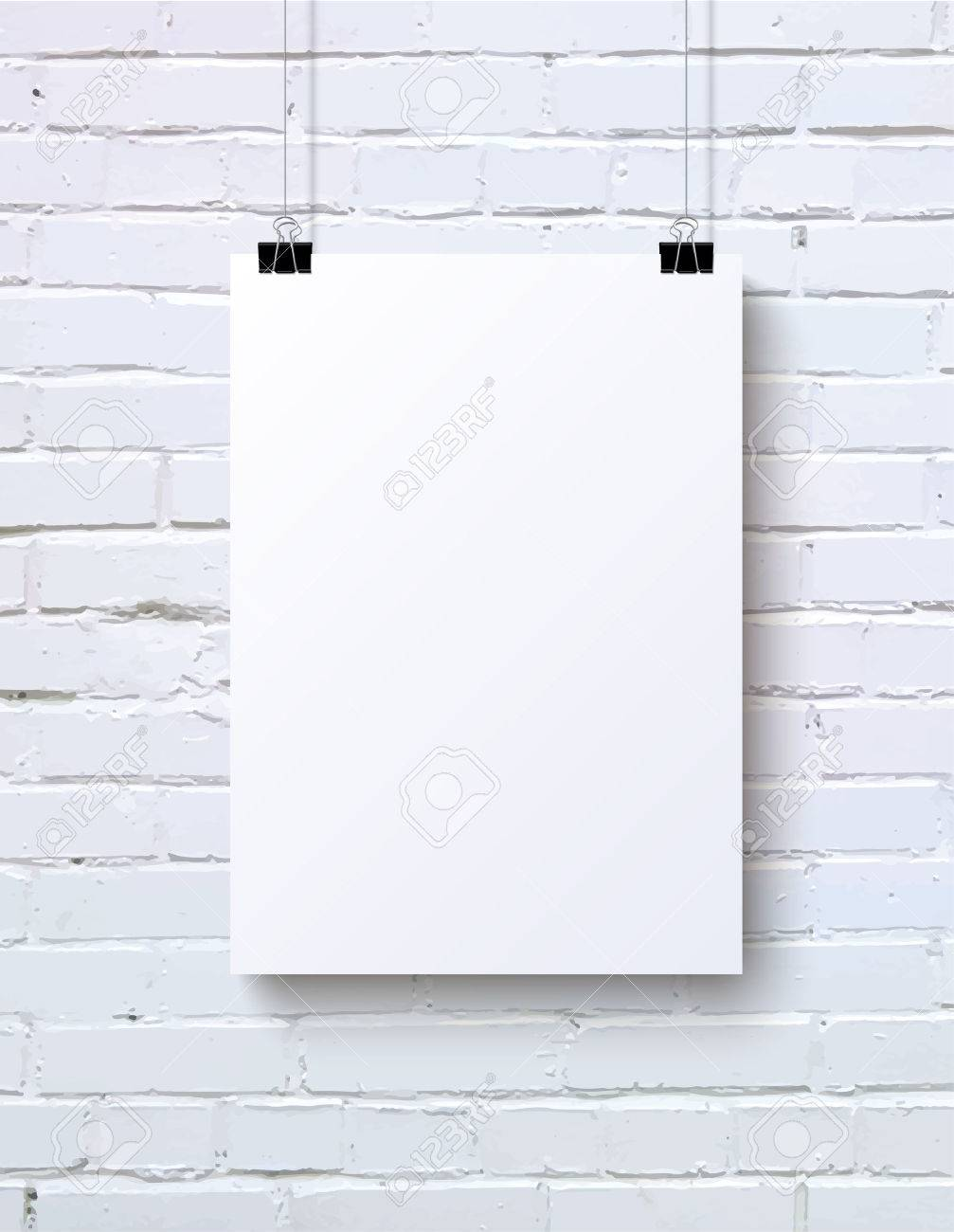 White Blank Vertical Poster Mock Up On The Brick Wall Vector Illustration Stock