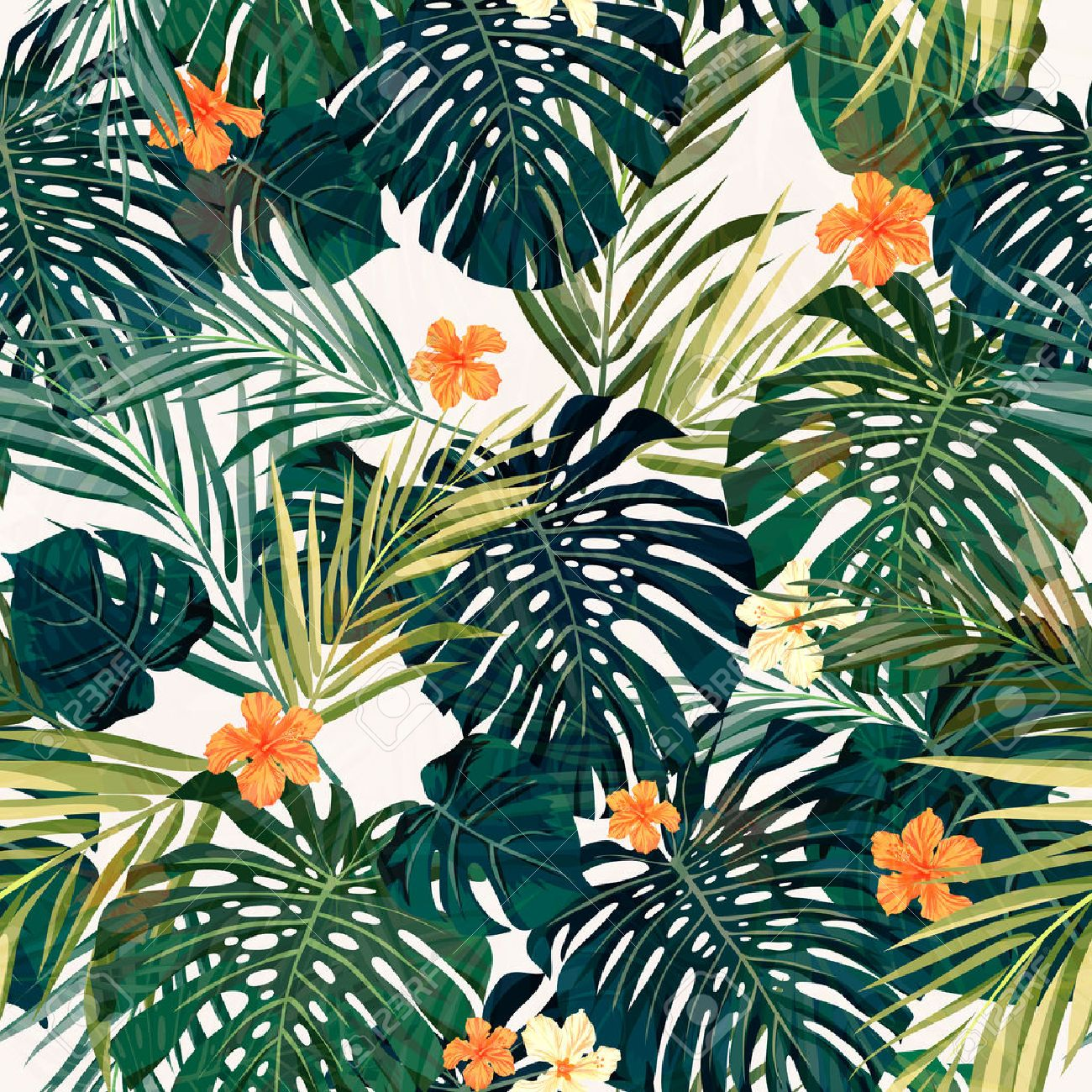 Summer Colorful Hawaiian Seamless Pattern With Tropical Plants