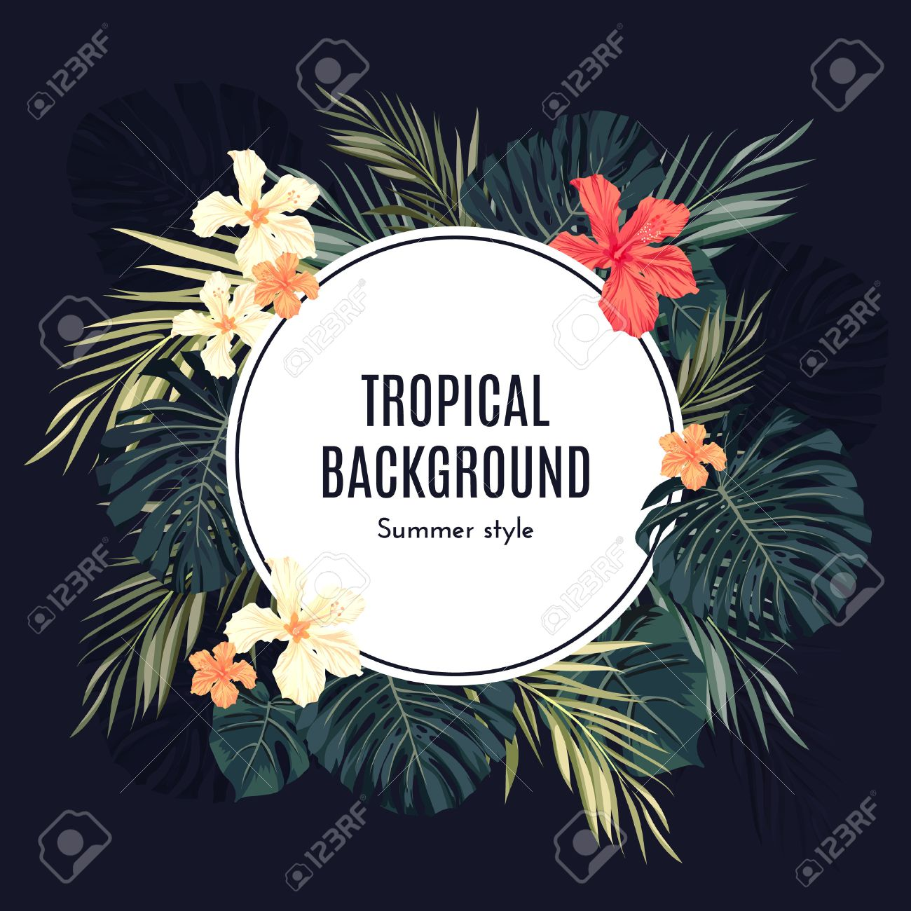 Summer tropical hawaiian background or flyer with jungle palm tree leaves and exotic flowers, space for text, vector illustration. - 41251382
