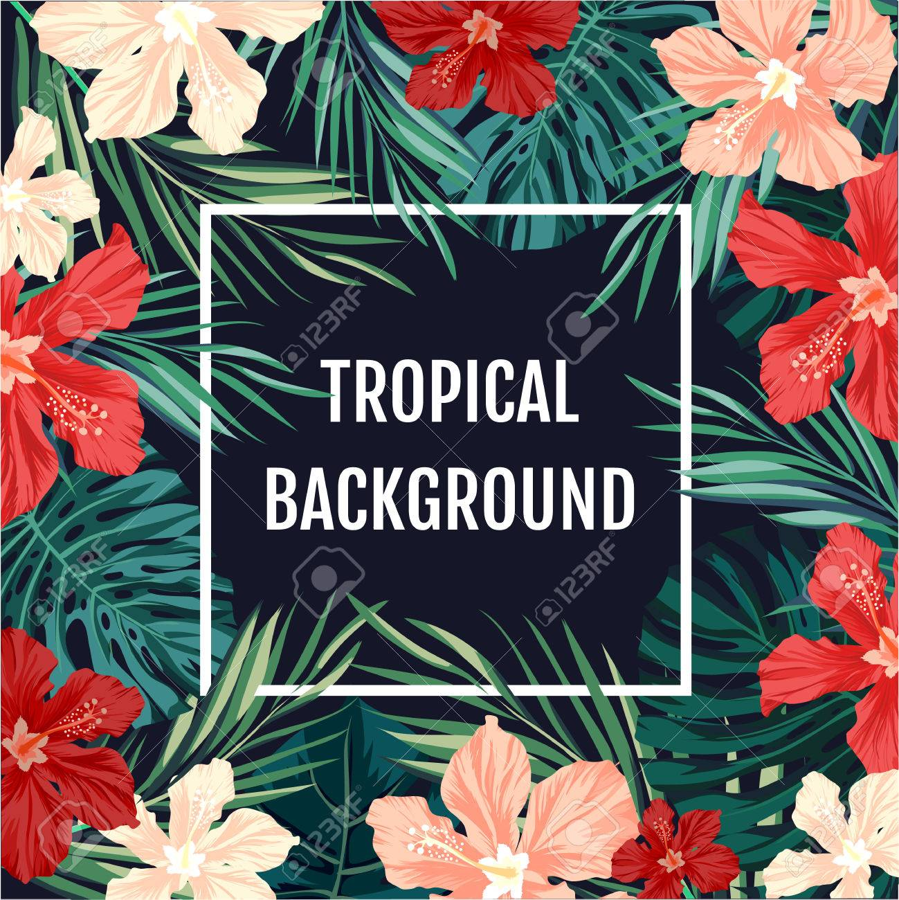 Summer tropical hawaiian sale background with palm tree leavs summer tropical hawaiian sale background with palm tree leavs and exotic flowers space for text izmirmasajfo Images