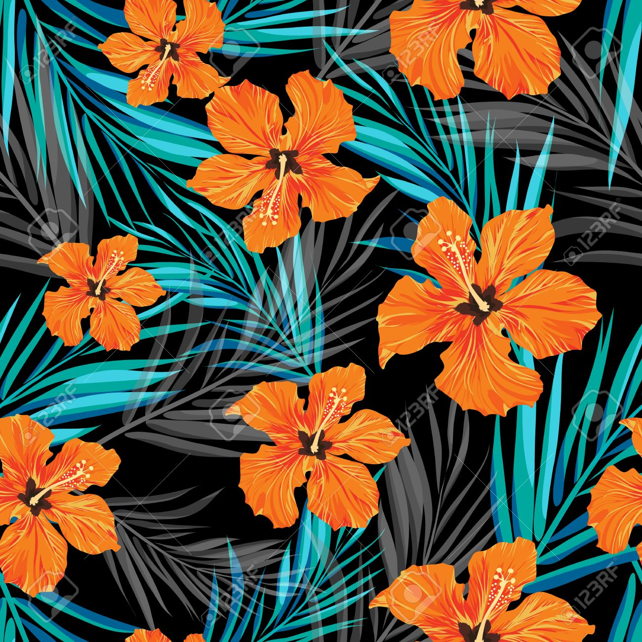 Summer tropical hawaiian sale background with palm tree leaves and exotic flowers, space for text, vector illustration. - 57181884