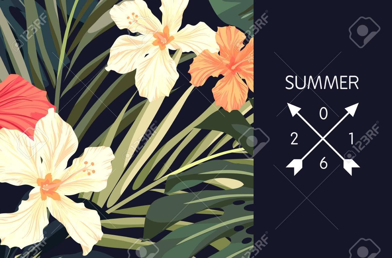 Summer tropical hawaiian background design with palm tree leaves summer tropical hawaiian background design with palm tree leaves and exotic flowers vector illustration stock izmirmasajfo