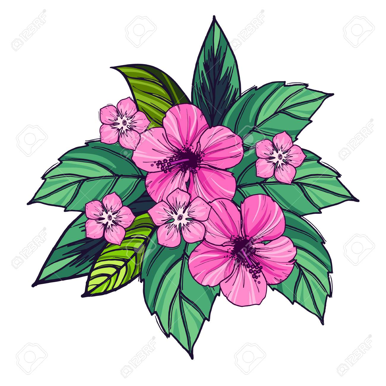 Tropical Bouquet Of Hibiscus Flowers And Leaves Vector Illustration
