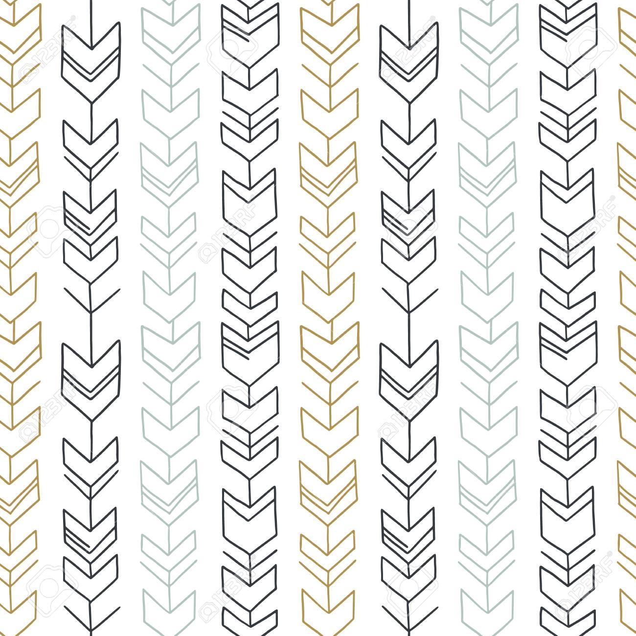 Dibujado A Mano Patrón Geométrico Tribal Sin Fisuras . Vector De ...