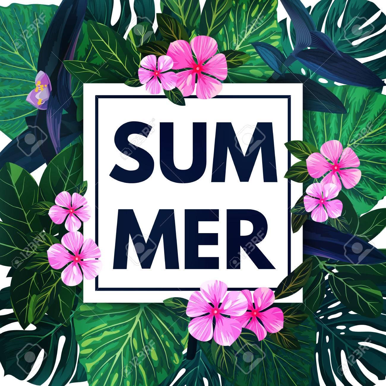 Verano Fondo Hawaiano Con Hojas De Palma Exotica Y Flores De Color
