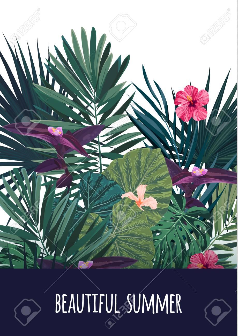 Floral vertical postcard design with hibiscus flowers monstera floral vertical postcard design with hibiscus flowers monstera and royal palm leaves exotic hawaiian izmirmasajfo Images