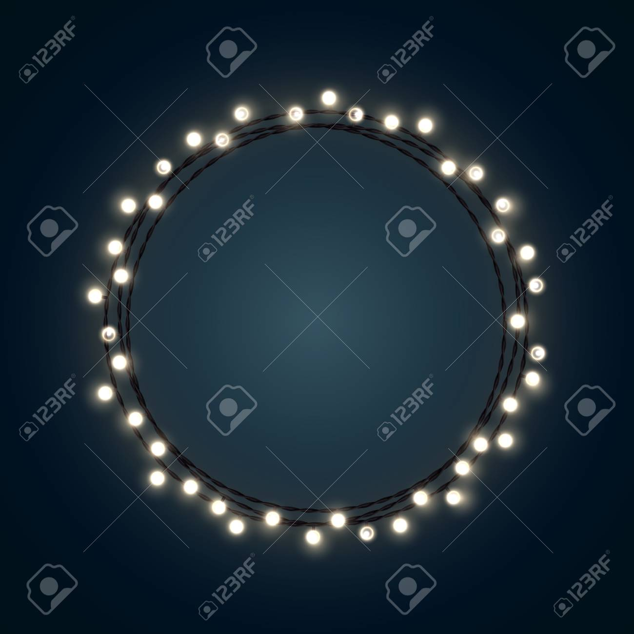 Vector   White Christmas Incandescent Light String Wreath On The Dark Blue  Outdoor Patio Lights.