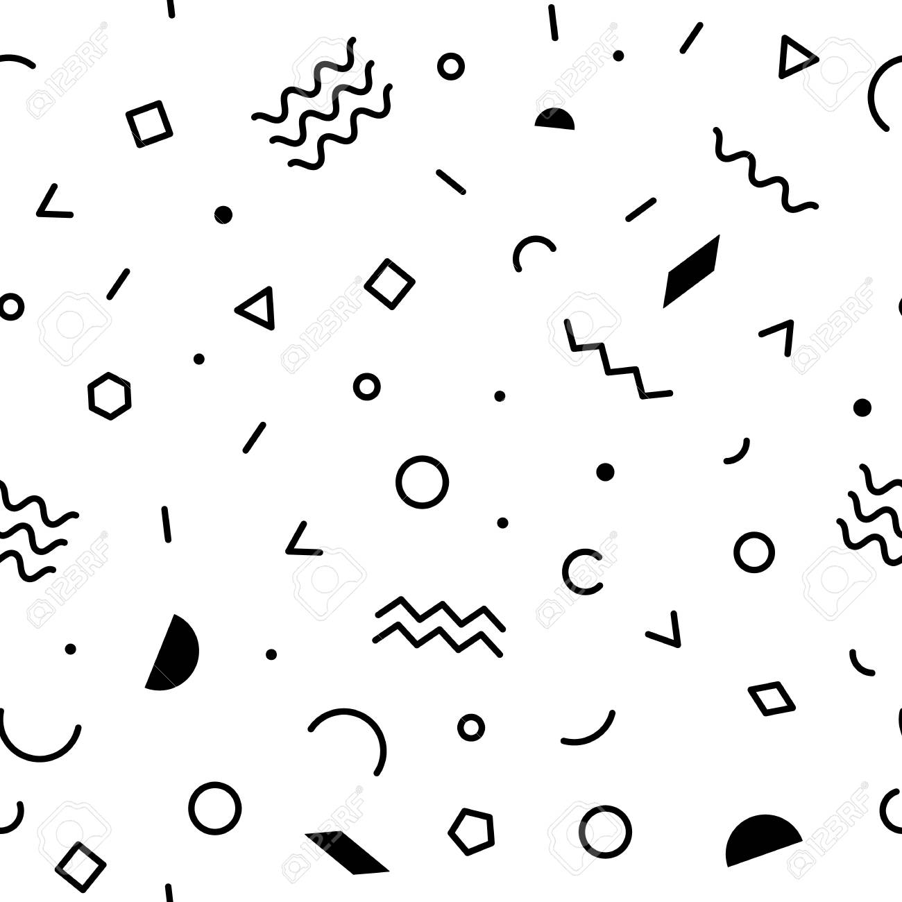Black and white geometric memphis pattern with zig-zag lines,