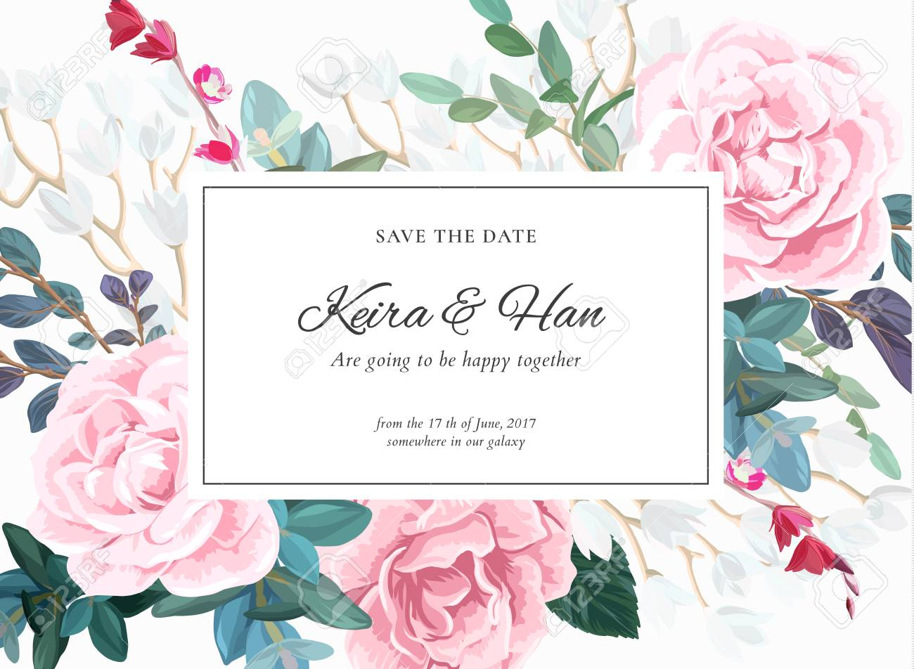 Floral Wedding Invitation Design With Pale Pink Roses On The