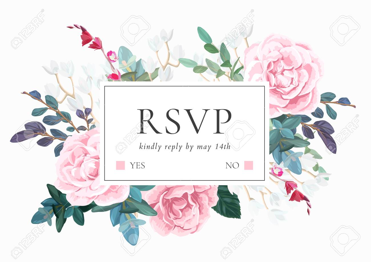 Floral Wedding Invitation With Pink Roses On White Background