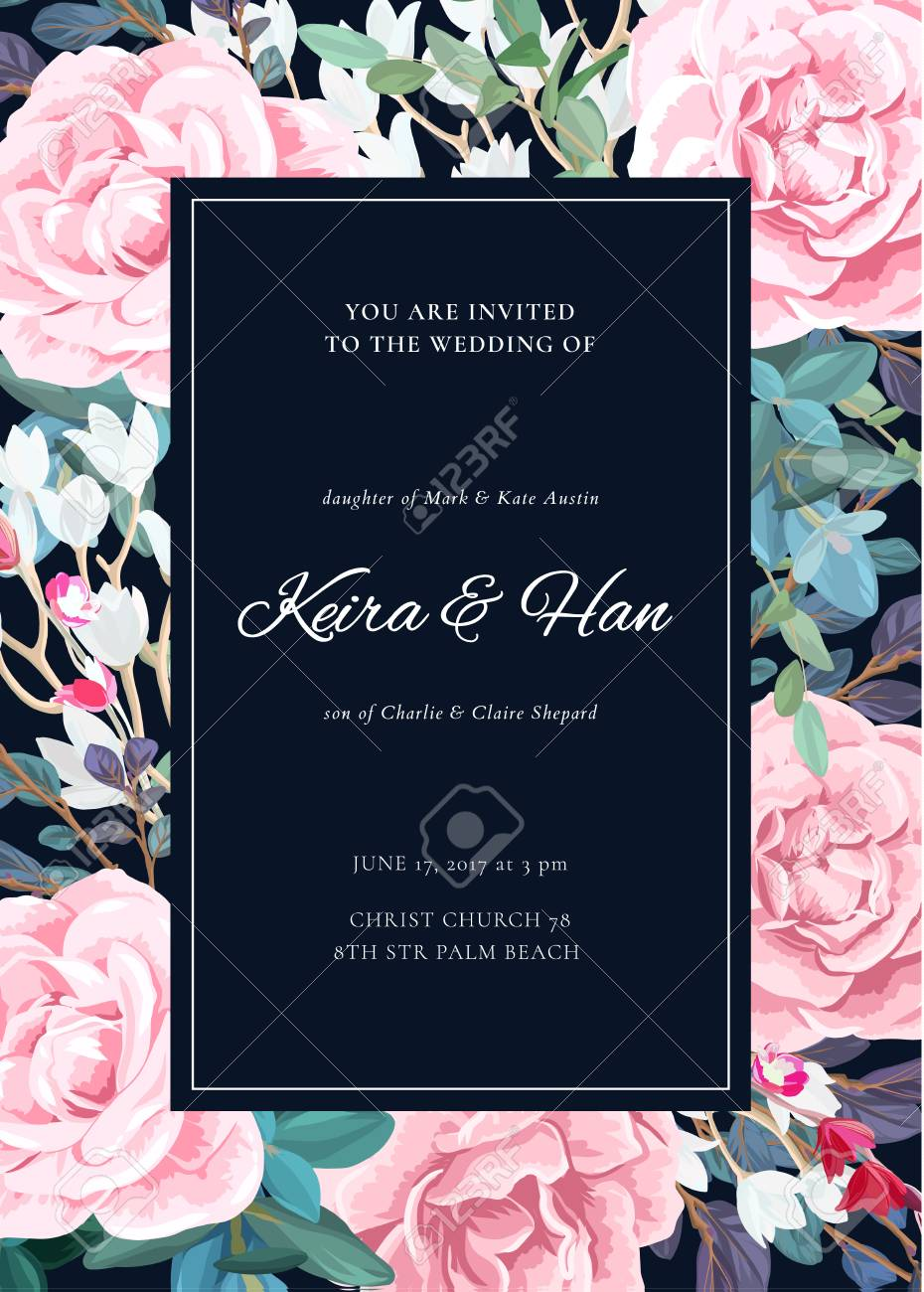 The Classic Design Of A Wedding Invitation With A Border Of Lowering