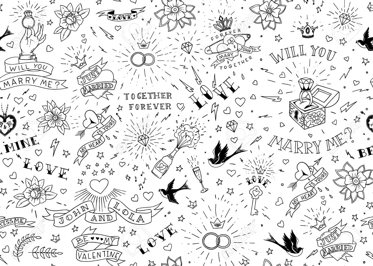 Old School Tattoos Seamless Pattern With Birds, Flowers, Roses ...