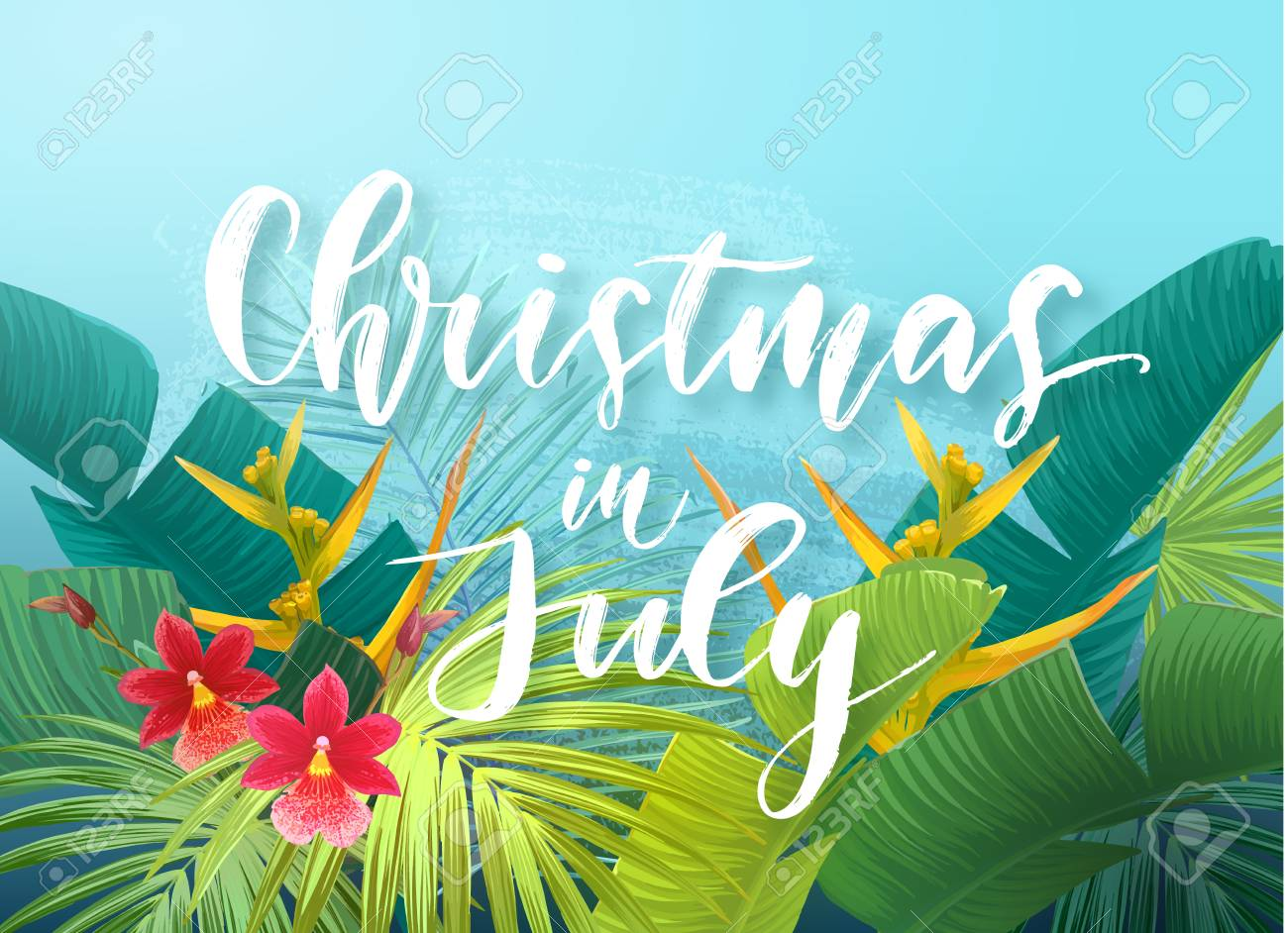 Christmas in July sale design with tropical royal palm leaves, exotic flowers and handlettering. Summer vector illustration. - 102626042