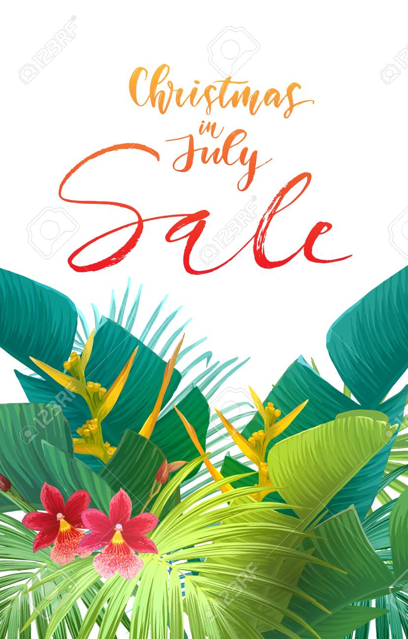 Christmas In July Royalty Free Images.Christmas In July Sale Design With Tropical Royal Palm Leaves