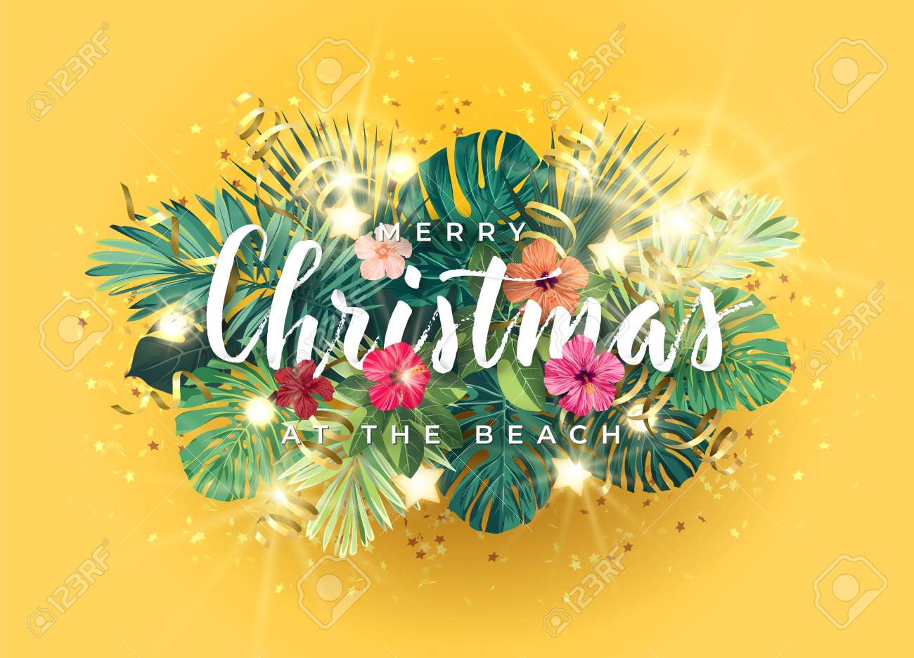 Tropical Christmas.Tropical Christmas On The Beach Design With Monstera Palm Leaves