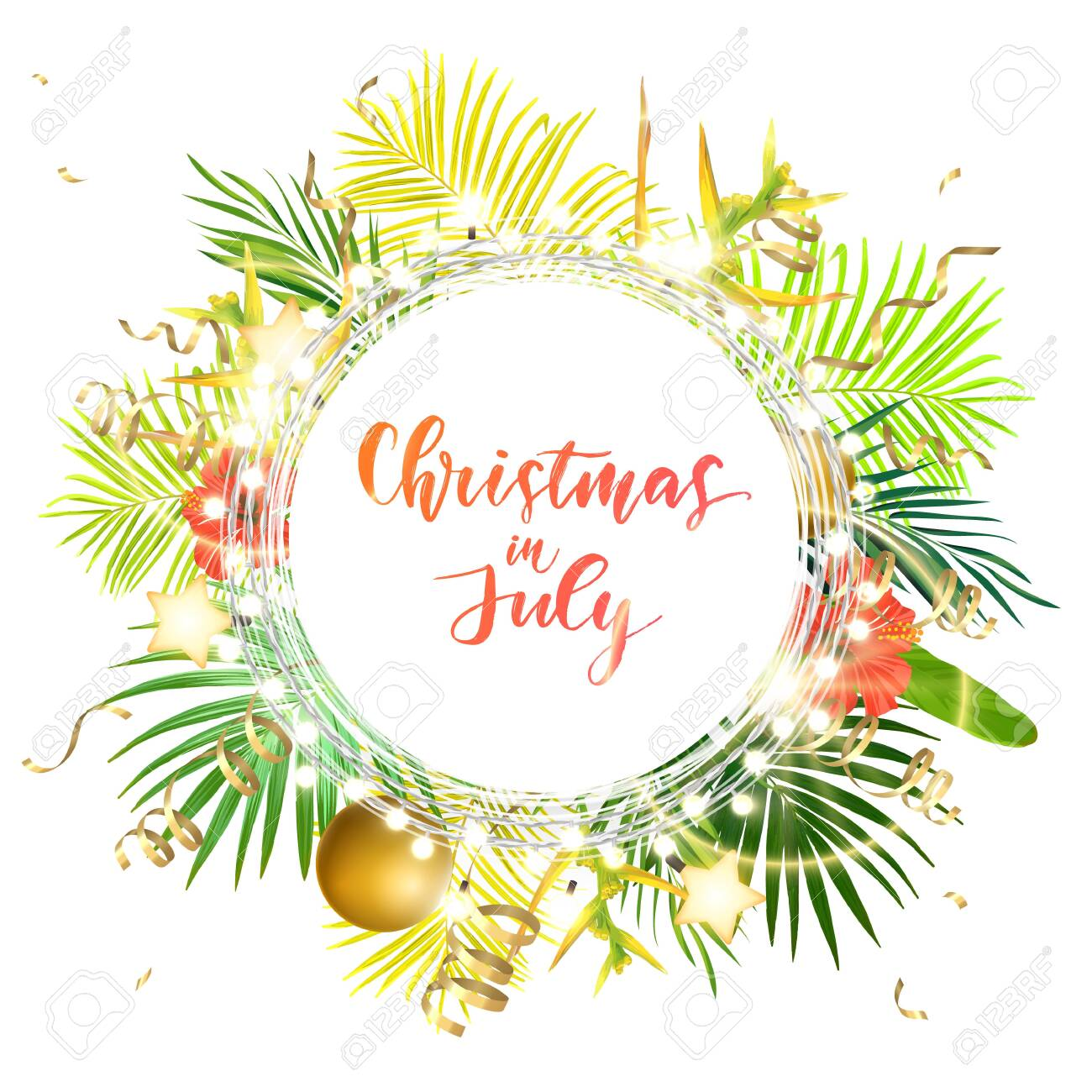Christmas on the summer beach design with green palm leaves, tropical flowers, xmas balls, decorative light bulbs and gold glowing stars, vector illustration. - 130487544