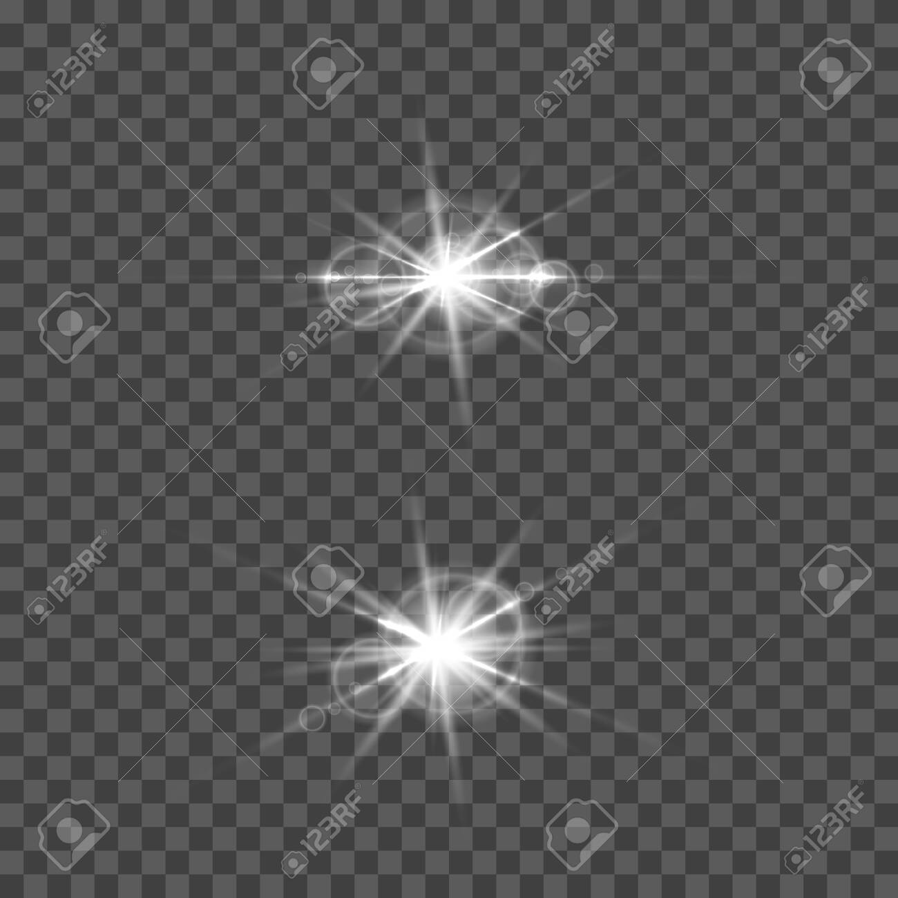 Set of vector lens flare effect. Round isolated transparent optical elements with rays. Space star explosion. - 130487558